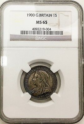 1900 GREAT BRITAIN OLD HEAD SHILLING GEM MINTSTATE NGC MS 65 INCREDIBLE TONING