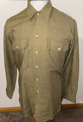 1940s Men's Shirts, Sweaters, Vests WWII US Army Wool Uniform Gold Eagle Buttons Shirt Sz 15x33 Mens WW2 Vtg 1940s  $119.98 AT vintagedancer.com
