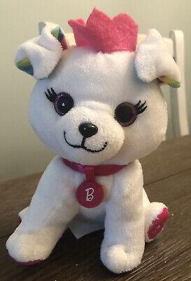 "Barbie Pets Princess Puppy Plush 7"" White Big Pink Glitter Eyes W/Pink Crown Dog"