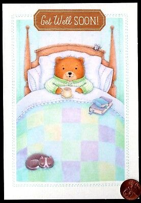 Get Well Teddy Bear In Bed Mouse Cat Quilt Books Tea -  Greeting Card (Get Well Bear)