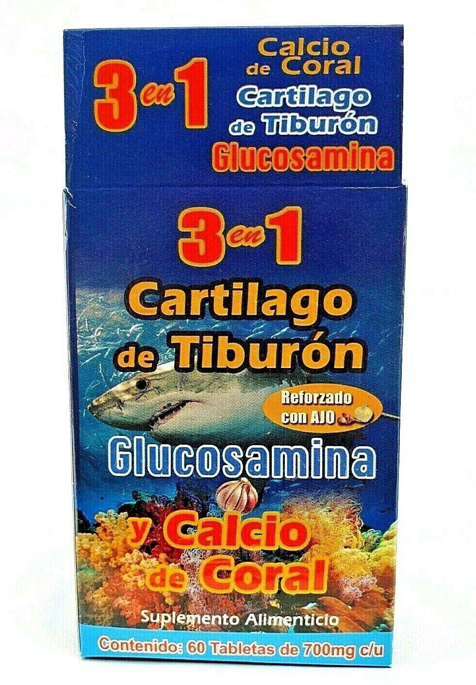 3 en 1 CARTILAGO TIBURON GLUCOSAMINA CALCIO CORAL REFORZADO + AJO FREE SHIPPING 5