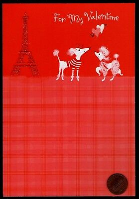 Valentine Dog Poodle French Eiffel Tower GLITTERED Valentine's Day Greeting Card