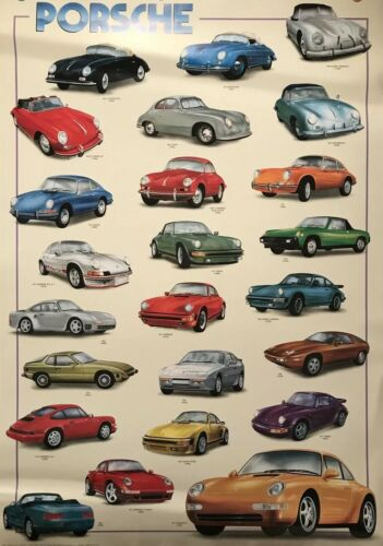 Porsche History 1952-1995 From its Original Printings Car Poster! Stunning!