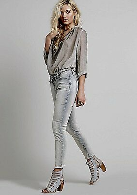 NEW Free People gray distressed Corduroy Cropped Roller Skinny Jeans Pants 30 Corduroy Cropped Pants