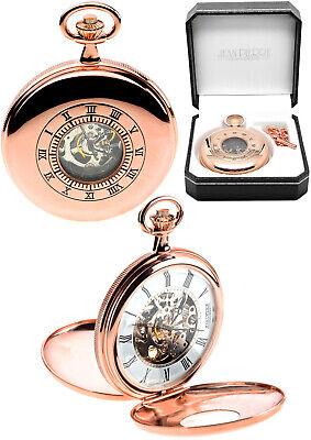 Jean Pierre Twin Lid Skeleton Pocket Watch Rose GP, Free Engraving g255rp