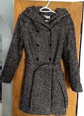 Calvin Klein Womens Tweed Double Breasted BeltedWool Blend Hooded Coat Sz 8 M  Breasted Belted Wool Coat