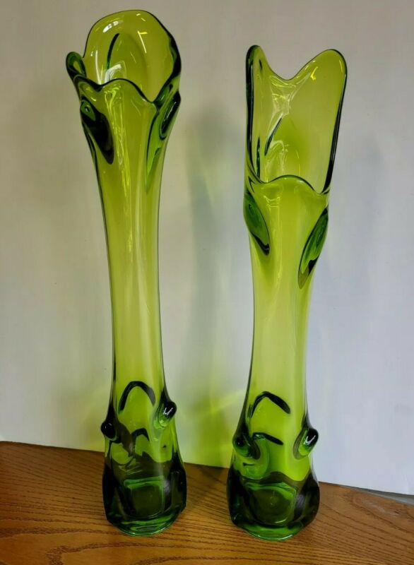 Vintage VIKING Pair LE Smith Green Art Glass STRETCH SWUNG VASES Mid Century MCM