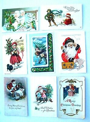 Vintage Lot of 8 Christmas Postcards All Early 1900's,All Sleeved    ch  27 ()
