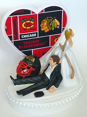 Blackhawks Cake Topper (Wedding Cake Topper Chicago Blackhawks Hockey Themed Sports Hawks Fun w/)
