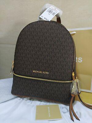 Genuine Michael Kors Rhea Medium  MK Signature Backpack in brown uk (Michael Kor Sales)