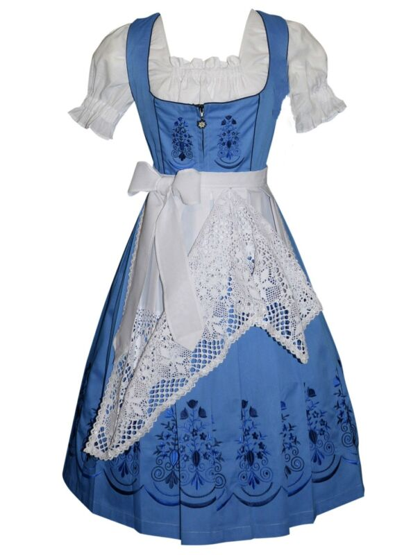 Blue German Dirndl Women Dress Waitress Oktoberfest Long EMBROIDERY Size 0 to 28