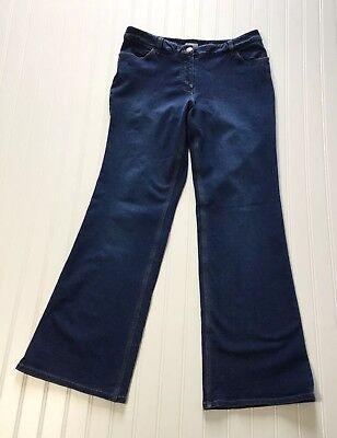 (J.JILL Women's Sz 10 Wide Leg  Mid Rise  Stretch Denim Blue Jeans)