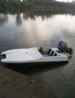 Cougar cub mini catamaran speed boat and custom trailer