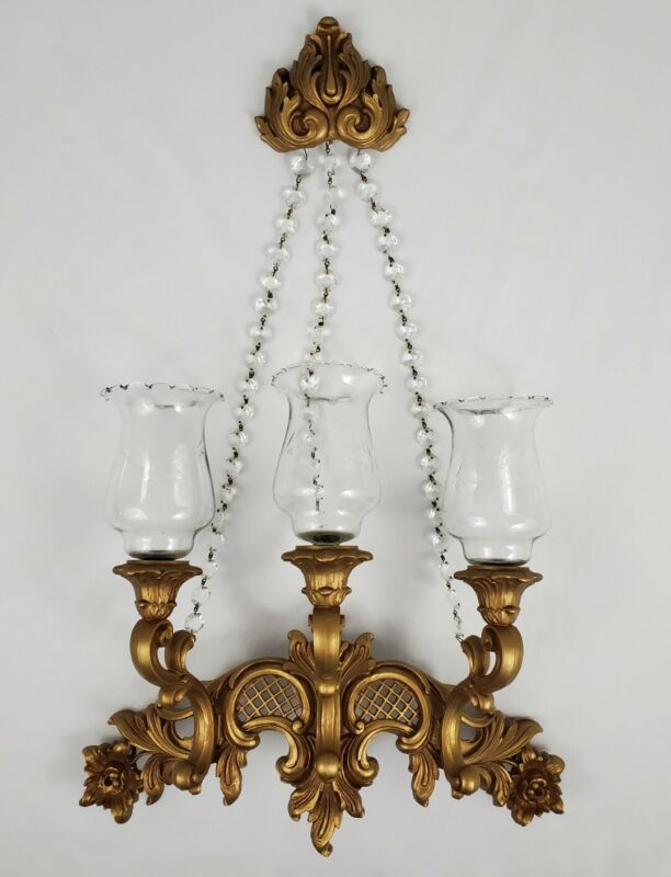 Vintage Homco Gold 3 Arm Candle Wall Sconce Crystals Globes Hollywood Regency