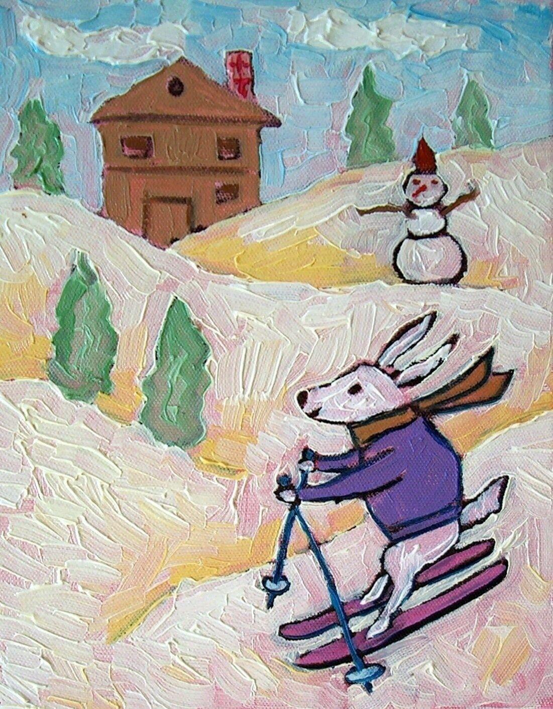 Skate boarding Bunny RABBIT 11x14  art print animals impressionism gift