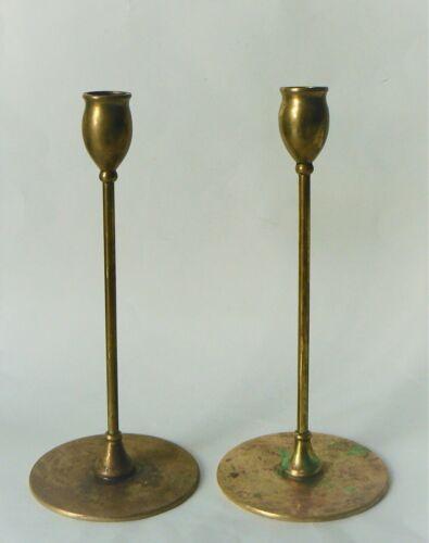 ON SALE  Jarvie Candlesticks, R Jarvie Arts & Crafts Alpha Brass Candlesticks