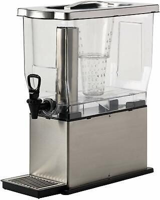 Rectangular Cold Beverage Dispenser 3 Gallon Transparent Brushed Stainless