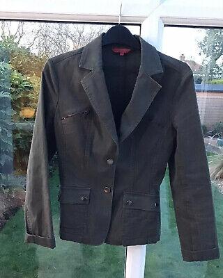 John Richmond Designer Ladies Canvas Summer Jacket. Size 10 In Khaki. Fab Con