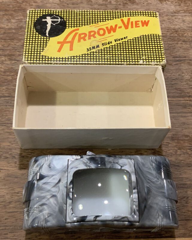 Vintage ARROW-VIEW-35mm Table Slide VIewer Illuminate & Magnify Marble Case