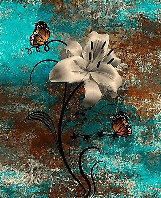 Teal Brown Butterflies Lily Modern Rustic Home Decor Wall Art Matted Picture