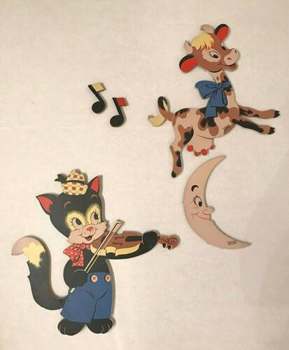 Vintage baby nursery decor Cat & Fiddle, cow, moon Mother Goose pin ups