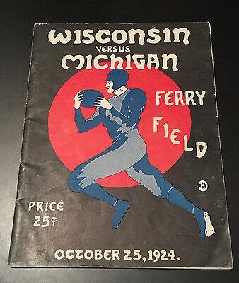 1924 MICHIGAN - WISCONSIN COLLEGE FOOTBALL GAME PROGRAM WOLVERINES