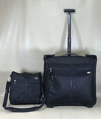"Bag Werks Traveler - Victorinox Werks Traveler Black Set 14"" Messenger Bag & 21"" Wheeled Garment Bag"