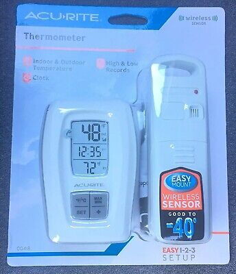 Acu Rite Thermometer with clock Indoor Outdoor Temperature, New - Fast Shipping Acu Rite Wireless Thermometer