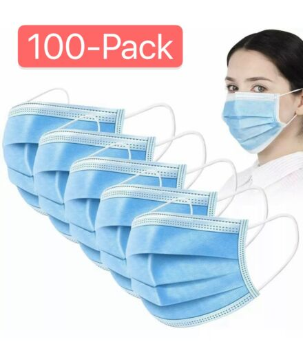 100 PCS Blue Face Mask Mouth & Nose Protecting Families Easy Safe