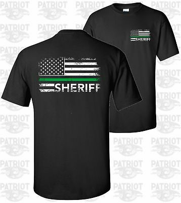 Thin Green Line Flag Police Sheriff Country Cops Officer T-Shirt USA Deputy ](Cop Shirt)