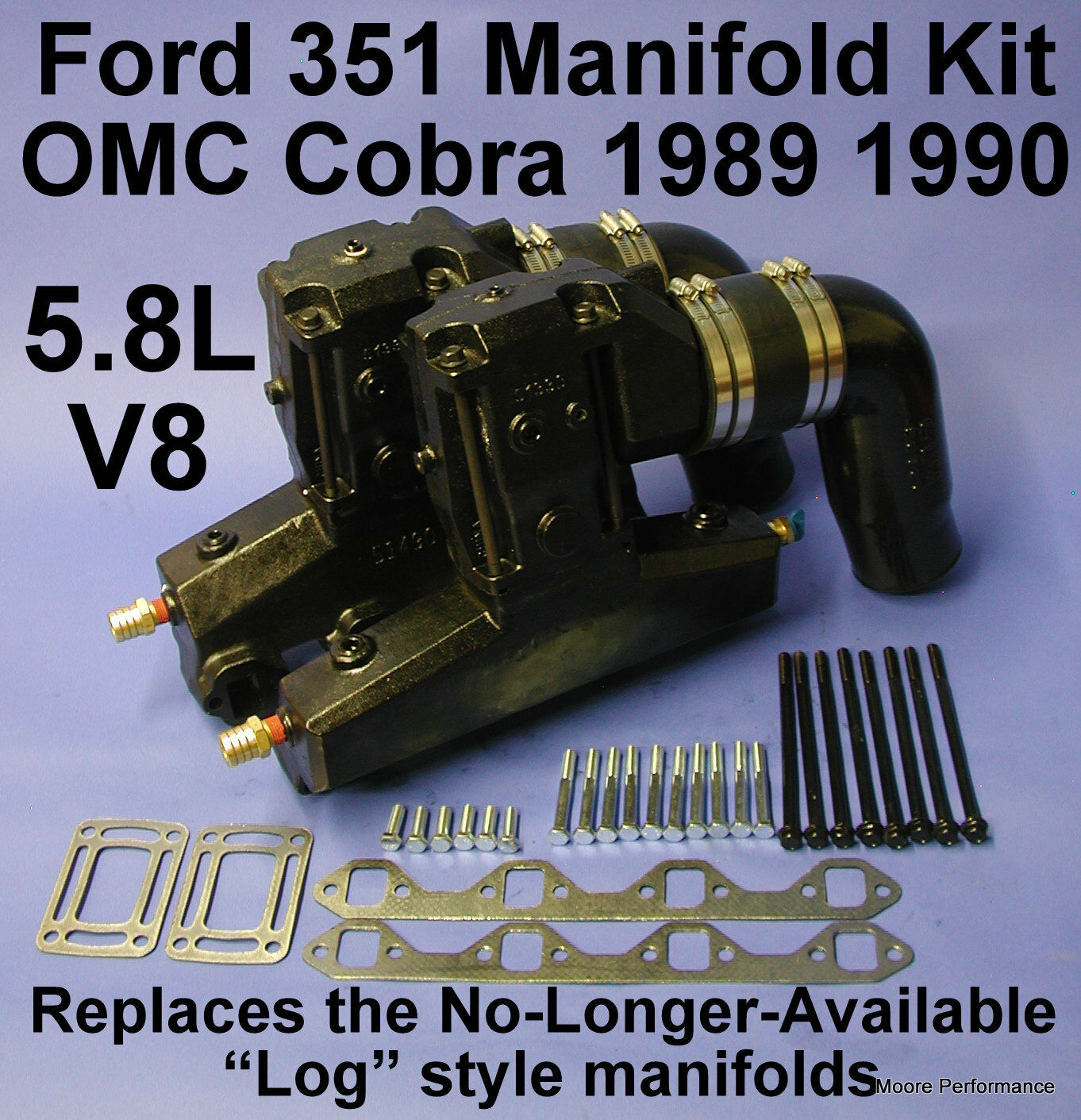FORD 351 5.8L V8 OMC EXHAUST MANIFOLD KIT 1989-90 REPLACES 913682 913683 909863