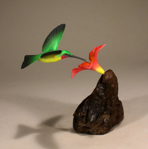 HUMMINGBIRD Sculpture by JOHN PERRY 7in tall Red flower New direct from Studio