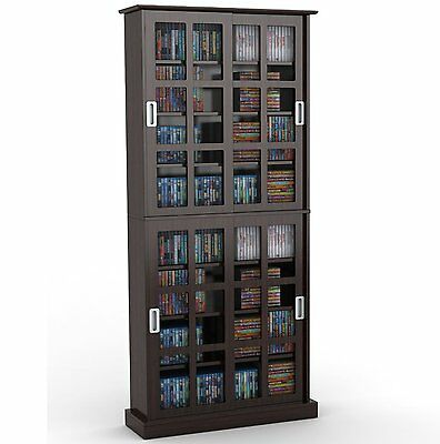 Atlantic Windowpane 720 CD & DVD Media Storage Cabinet in Espresso 94835757 New