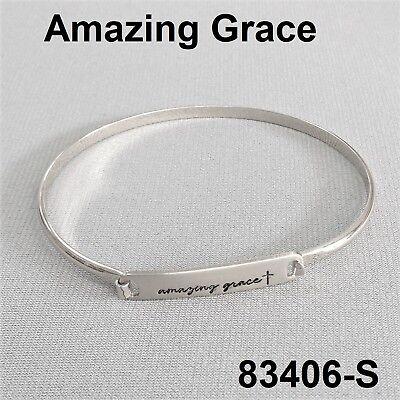 Dainty Style Silver Tone AMAZING GRACE Message  Engraved Brass Bangle - Message Bracelets