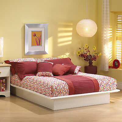 NEW White Full Size Double Platform Bed - No Box Spring Required Comp Wood - White Double Platform Bed