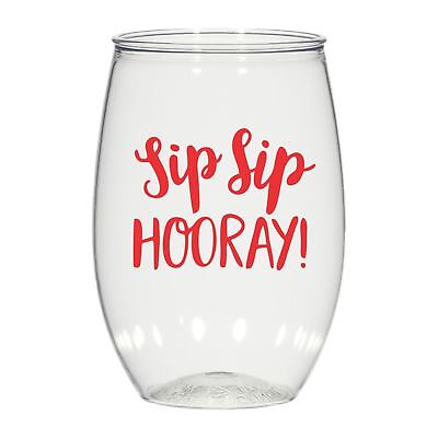 16 oz personalized stemless wine glass weddings cups party favors Sip Sip Hooray - Wine Glass Favors