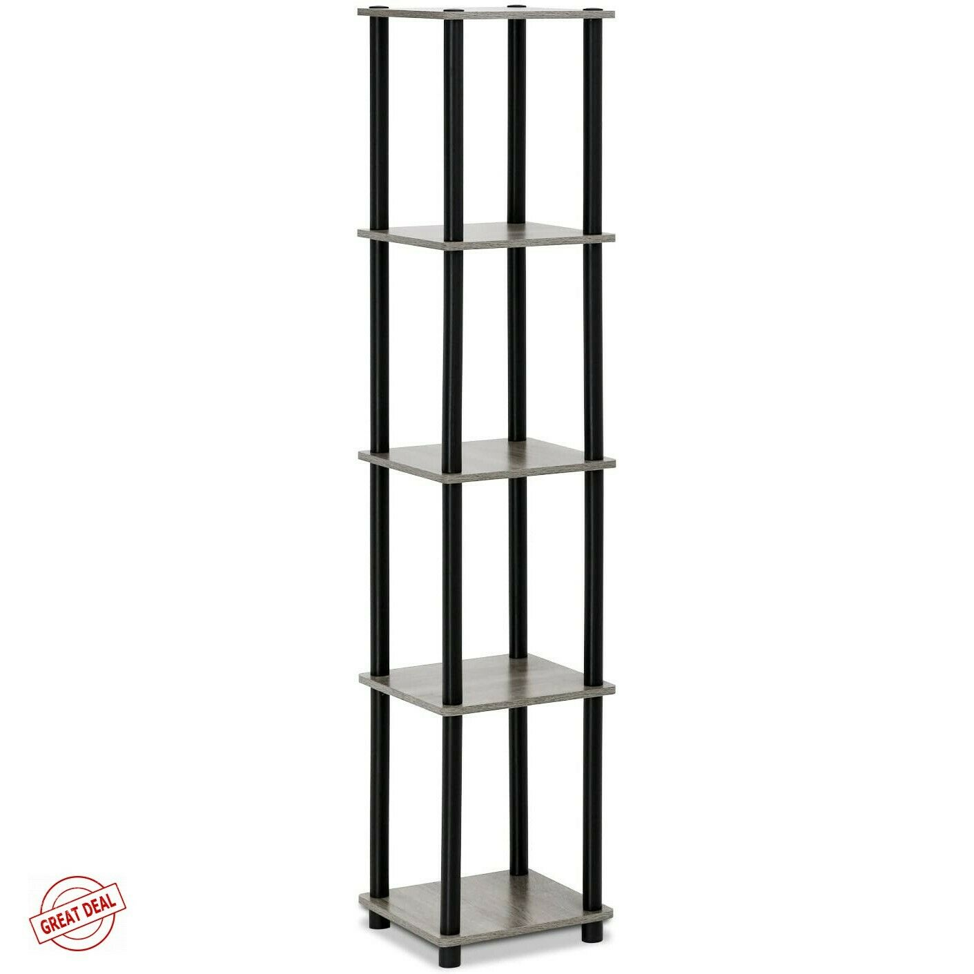 Furinno Turn-N-Tube 5-Tier Corner Square Rack Display Shelf,