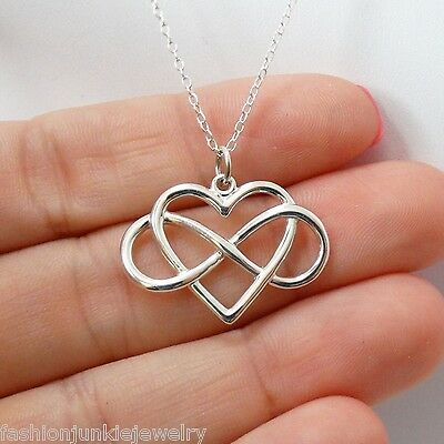 Infinity Heart Necklace   925 Sterling Silver   Infinite Love Gift Pendant New