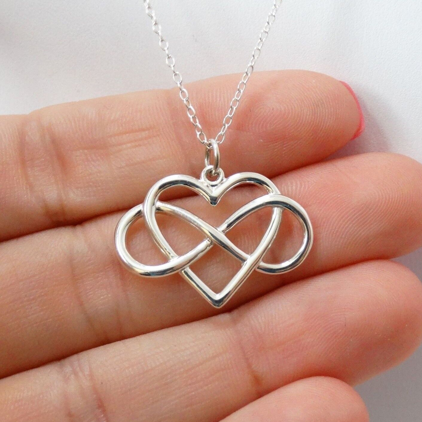 Infinity Heart Necklace - 925 Sterling Silver - Infinite