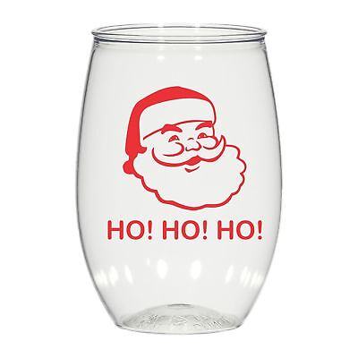 16 oz personalized stemless wine glass cups party favors Christmas Santa   - Wine Glass Favors