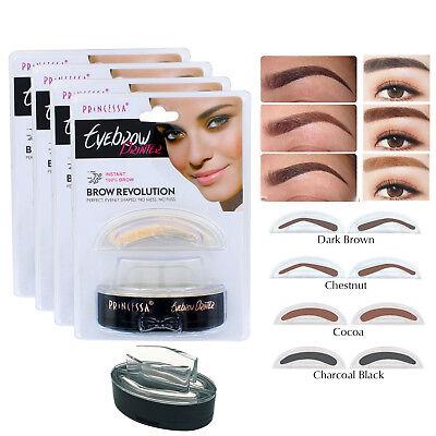 Eyebrow Stamp Powder Natural Delicate Shape Eye Makeup Waterproof Mirror Brown