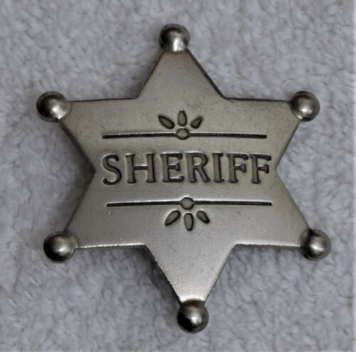 Old West Style Sheriff Badge Six Pointed Star Western Silver Plated