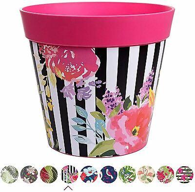 Hum Flowerpots Plant Pot in Pink Watercolour Floral Plastic - 25cm x 25cm