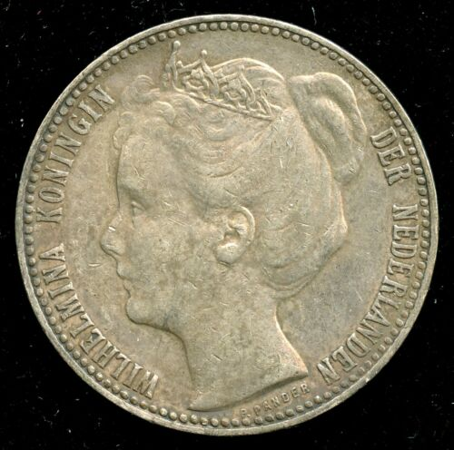 1901 Netherlands One Gulden Silver Coin KM# 122.1