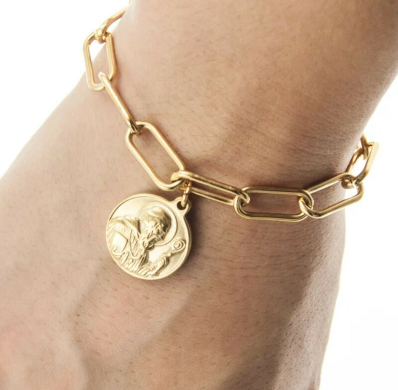"ST BENEDICT San Benito Stainless Steel Medal 2 Sided Gold Bracelet20cm (7.8"")"