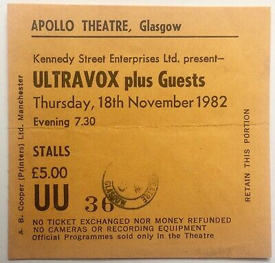 Ultravox Original Used Concert Ticket Apollo Theatre Glasgow 18th Nov 1982 comprar usado  Enviando para Brazil