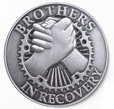 BROTHERS IN RECOVERY- Brushed Antique Nickel AA /NA Coin