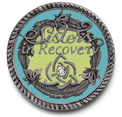 Sisters in Recovery/Never Alone Again Enameled COLOR Coin AA/NA/12 Step Recovery