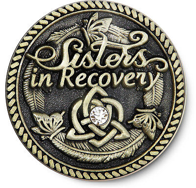Sisters in Recovery/Never Alone Again-  Antique BRZ Coin AA/NA/12 Step Recovery
