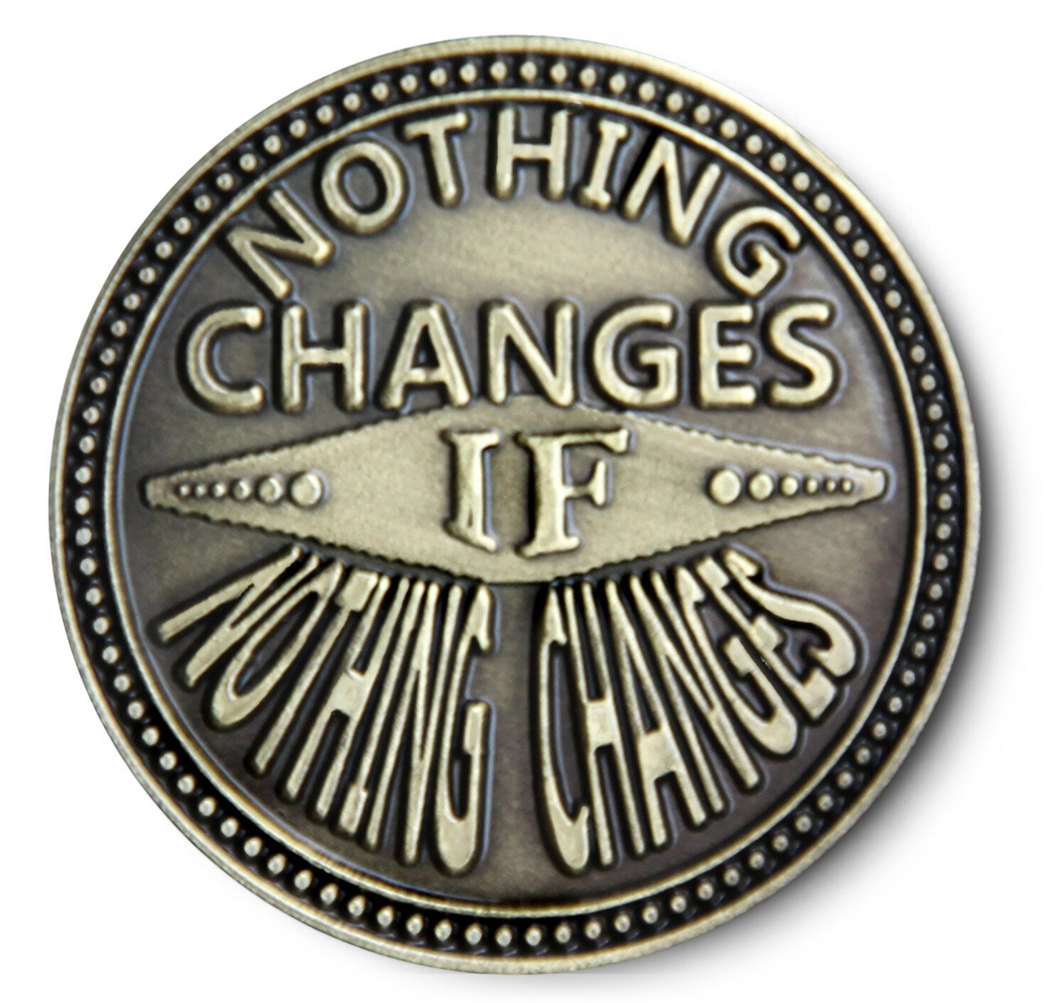 NOTHING CHANGES Antiqued Bronze  AA/NA/12 Step Recovery Program Coin /Token/Chip